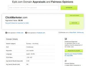 Epik domain name valuation example